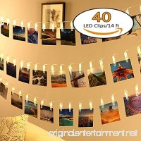 Neretva 40 LED Photo Clips String Lights  Christmas Indoor Fairy String Lights for Hanging Photos Pictures Cards and Memos  Ideal gift for Dorms Bedroom Decoration (16.4ft  Warm White) - B06XTKB6XP