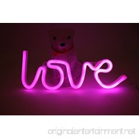Pink Love Neon Signs LED Light 6×12 Inch USB or Battery Powered Decorative Lights For Girls Bedroom House Bar Pub Hotel Party Kids Home Wall Decor - B07585FB69
