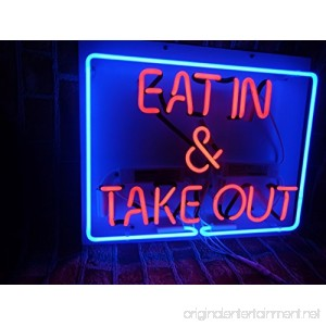 Prang-US Eat in&Take out Neon Signs 17×14 inch Real Neon Signs made with Glass Tubes Brilliant Neon Open Sign. Eye-catching Neon Beer Sign. - B075S1MK3H
