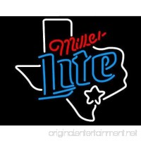 Texas - Miller Lite - Dallas - Real Glass Beer Bar Pub Decor Neon Signs 19x15 - B075XGMX8V