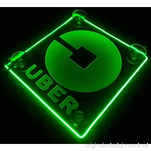 Uber Logo LED Lit Sign Rideshare Car Sign AA batteries HELPING THE ENVIRONMENT (Green) - B076QBGZ9F