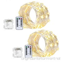 ZJMZZM 2 Sets Battery Operated Waterproof Fairy String Lights 16.4Ft 50 LEDS  Silver Wire 8 Modes Remote Control for Bedroom  Wedding  Thanksgiving and Christmas Décor (Warm White) - B0755D33DK
