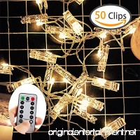 ZOUTOG Photo Clip String Lights  50 Photo Clips 16ft/5m Battery Operated LED Clip Lights (Remote & Timer  8 Modes)  Warm White Starry Light for Hanging Photos  Cards and Artworks - B07DNTRKC1