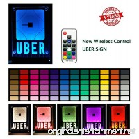 ZPO Uber Sign  LED Logo Light Decal Glow Accessories  Wireless Control Remote Intelligent Control 16 Glowing Colors 4 Control Modes  Uber Lyft Sign Light Up Sticker For Car 30M Wide signal coverage - B07BTK54SF