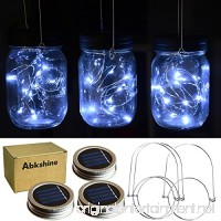 Abkshine 3Pack Solar Mason Jar Light Lid Assemblies LED Fairy Lights for Garden Yard Patio Grave Decoration(White Light 3 pcs Hangers Included) - B07D29ZTLD