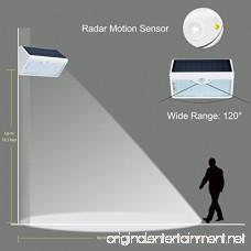 AmaGo Solar Wall Lights - 60 White LEDs of Wide Range 1 300 Lumens Five-Mode Illumination Via Remote Control Motion Radar Sensor Solar Rechargeable Waterproof Easy Installation (White Case) - B073S4PJTS