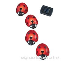 Collections Etc Solar Ladybug Garden Light Lawn Stakes - Set Of 4 Red - B00XDPL9V8