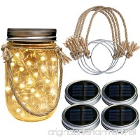 Homeleo 4 Pack Wide Mouth Solar Mason Jar Lid Lights w/Burlap Hangers  20LED Warm White Solar Powered Mason Jar Firefly Light for Outdoor Decoration Summer Garden Yard(Jars Not Included) - B07BRDZNK8