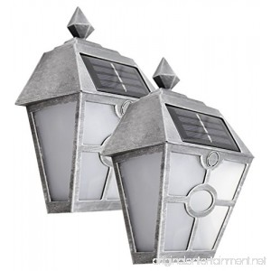 Sogrand Solar Deck Post Lights Outdoor Garage Door Lights Step Stair Light Waterproof Decorative Silver Wall Lamp Fence Decorations Warm White LED 2018 Garden Walkway Path 2Pack - B07CWG6XM8