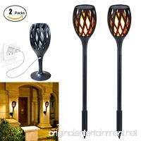 Solar Flame Light Upgraded  Outdoor Waterproof Flickering Flames Torches Landscape Decoration Lighting Dusk to Dawn Auto On/Off Security Torch Light for Patio Driveway  Indoor USB Recharge Wall Lamp - B07CMMMBLR
