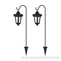 Solar Powered Lights  Set of 2 Coach Hanging Lanterns- LED Outdoor Stake Spotlight Fixture for Gardens  Pathways  and Patio by Pure Garden - B01HS45X7A