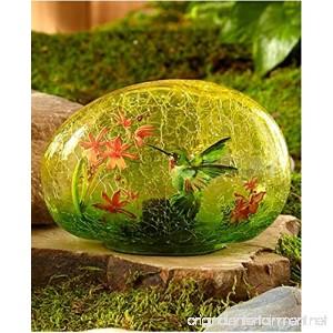 The Lakeside Collection Solar Glass Garden Stone Hummingbird - B01MRU6N1V