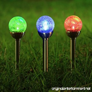 Twinkle Star Solar Pathway Lights Crackle Glass Globe Solar Lights Outdoor Color Changing Stainless Steel Solar Garden Lights Set of 3 - B06ZYGWD47