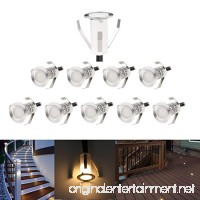 "0.7"" Small Led Deck Lights Outdoor Low Voltage IP67 Waterproof Recessed Landscape Stair Step Lighting Kits Warm White Set of 10 - B076H4QG1P"