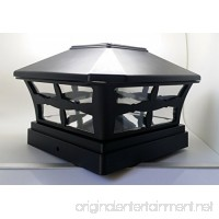 """1 Piece Solar BLACK FINISH Post Deck Fence Cap Lights for 5"""" X 5"""" Vinyl/PVC or Wood Posts With White LEDs and Clear Lens - B015DGCRVK"""