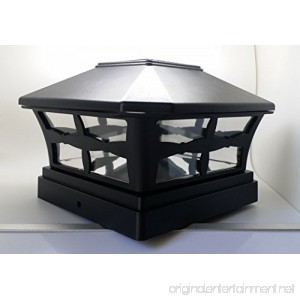 1 Piece Solar BLACK FINISH Post Deck Fence Cap Lights for 5 X 5 Vinyl/PVC or Wood Posts With White LEDs and Clear Lens - B015DGCRVK