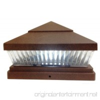 """2-Pack Solar Textured Copper Finish Post Deck Fence Cap Lights for 5"""" X 5"""" Vinyl/PVC or Wood Posts With White LEDs and Vertical-lined Clear Lens - B01IWYVWWA"""