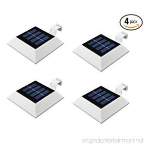 [4 Pack]HKYH Solar Powered Waterproof Security Lamp 4 LED Solar Gutter Lights for Outdoor Garden Fence Dog House Tree Outside Garage Door Wall Stairs Anywhere Safety Lite with Bracket - B015O87TBU