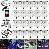 LED Deck Lights Kit 20pcs Φ1.18 WiFi Wireless Smart Phone Control Low Voltage Recessed RGB Deck Lamp in-Ground Lighting Waterproof Outdoor Yard Path Stair Landscape Decor Fit for Alexa Google Home - B07BM1DCSH
