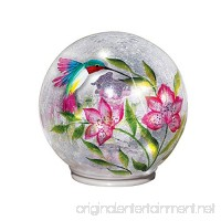 Lighted Crackle Glass Garden Globe Ball Outdoor Yard or Table Decoration  Hummingbird - B07BWMTQYX