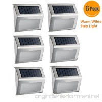 [Pack of 6] Outdoor Stainless Steel Warm White LED Solar Step Light Wireless Super Bright Modern Lamp for Deck  Staircase  Walkway  Patio  Garden  Yard  Patio - B076V8RX7J