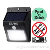 Solario Bright Solar Powered Wireless Outdoor LED Security Floodlights- 80 Lumen- No Tools Required Peel and Stick- Motion Activated- Black - B01HSHS23E