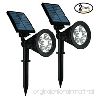 Achivy 5-LED Solar Lights  Upgraded 2-in-1 Outdoor Solar Spotlights  IP65 Waterproof Adjustable Landscape Night Lights Auto on/off for Garden Yard Lawn Pathway Driveway Tree (2 Pack) - B071XVSCFQ