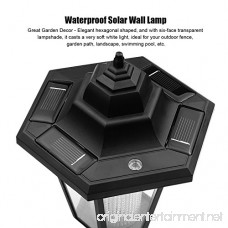 ALLOMN Outdoor Solar LED Lamp Wall Sconce Waterproof Vintage Hexagonal Light Wall Mounted Security Garden Fence Yard Lamps Plastic Material (Warm White) (2 Pack) - 2W - B078SLNY59