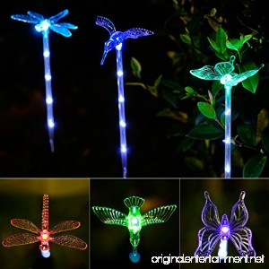 Garden Lights 3 pack Garden Solar Lights Outdoor Multi-color Changing LED Hummingbird Dragonfly Butterfly Lights with a White LED Light Stake for Garden Decoration - B075XGTWV2