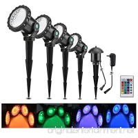 Lemonbest Set of 4 LED Multi-color Spotlight Garden Decorative Landscape Outdoor Pond Yard Lawn Light Submersible Lamp Remote control w/Spike Stand - B0746KMPW6