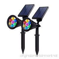 Solar Powered Spotlights 7 Color LED Landscape Lights Solar lights Outdoor 2 in 1 Adjustable Auto-on/off Waterproof Security Wall Lighting for Garden  Patio  Driveway Yard  (Pack of 2) - B075XKQ5ZV