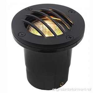 Composite In Ground Well Light w/Curved Brass Grill Cover - 12V / 120V (Black Grill) - B01L0EC1GK