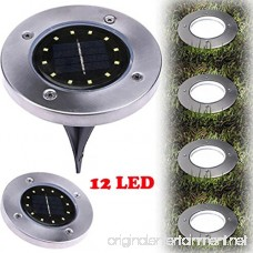 CYCTECH Solar Powered Ground Lights 12LED Solar Path Lighting Outdoor Waterproof Garden Landscape Walking lighting for Yard Driveway Lawn Pathway Walkway Disk Lights- Cool White (Silver) - B07DSWLZJS