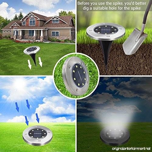 SLK GREEN Upgraded 8 LED Solar Power Waterproof Landscape