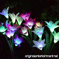 Solar Garden Decorations Outdoor - 2 Pack Erhard Solar Powered Garden Stake Lights with 8 Lily Flower Multi-Color Changing LED Solar Stake Lights for Garden Patio Backyard(Purple and White) - B07DHMYTBT