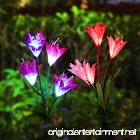 Solar Garden Lights Elfeland Outdoor Solar Powered Decorative Light 4 Lily Flowers Adjustable Leaves LED Multicolored Solar Stake Lights for Garden Patio Backyard Lawn(2 Pack Purple & White) - B07DCSJT3D
