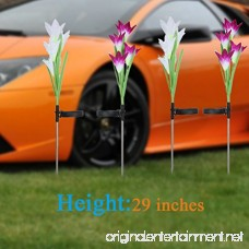 Solar Garden Stake Lights Outdoor 2 Pack Solar Powered Lights with 8 Lily Flower Multi-Color Changing LED Solar Landscape Lighting Light for Decorating The Path Yard Lawn Patio (White and Purple) - B07F2HBYVJ
