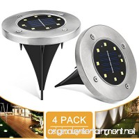 Solar Ground Lights 8 LED Waterproof Garden Pathway Outdoor in-Ground Lights Pack of 4 White Light - B07F82SL28
