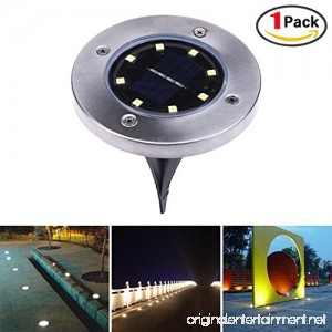 Solar in-Ground Lights 8 LEDs Outdoor Waterproof Path Light Flood Lamp Yard Garden Walkway Driveway Lawn Landscape Home Decking White (1 lamp with 8pcs led Chips-Warm White) - B07B8JHLWL
