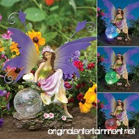 Bits And Pieces Outdoor Fairy Sculpture-Color Changing Solar Garden Fairy - Multicolored Changing Bulb - Solar Powered - B01DSKK1WK