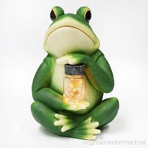 Frog with Jar Solar Lighted Garden Décor - B078YKQ1VD