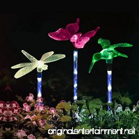 Garden Lights  Solarmks Garden Solar Lights Outdoor Multi-color Changing LED Hummingbird  Dragonfly  Butterfly Lights  with a White LED Light Stake for Garden Decorations - B01MT3S7WK