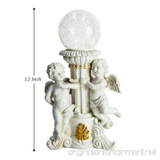 HOMESHINE Solar Powered Cherub Garden Statues LED Color Changing Lights with Crackled Glass Lights 12 inch - B06Y5C3V3Y