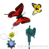 HQRP Multicolor Pair of Solar Powered Flying Fluttering Butterflies for Garden Plants Flowers + HQRP UV Chain (Red+Yellow) - B00844XHOU