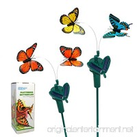 HQRP Set of 2 Twin Solar Powered Flying Fluttering Butterflies Orange Yellow Blue for Garden Plants Flowers Yard Patio Landscape Decor + HQRP UV Meter - B01G3MPSZU