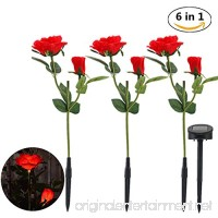 Outdoor Solar Garden Stake Lights - 1 Pack Solar Powered Lights with 6 Rose Flower and 6 LED Regulation of LED Solar Stake Lights for Garden  Patio  Backyard(Red) - B07F434BXG