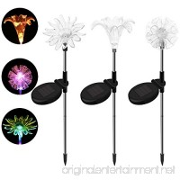 SAPPYWOON Outdoor Solar Garden Lights- 3pcs LED Multi-Color Solar Stake for Garden  Patio  Backyard (Lily Dandelion Sunflower) - B07DRGG819