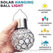 Set of 3 Solar Crystal Hanging Mosaic Lights Color Changing Led Lantern Weatherproof Solar Powered Rechargeable Crackle Glass Ball Lamp for Garden Patio Outdoor Yard Window Party Tree Decorations - B07DGRFPXQ