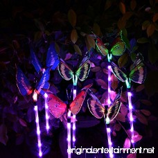 Solarmart Outdoor Garden Solar Lights - 3 Pack Fiber Optic Butterfly Solar Powered Lights Color Changing LED Solar Stake Lights with a Purple LED Light Stake for Garden Patio Backyard - B0749GZNKN