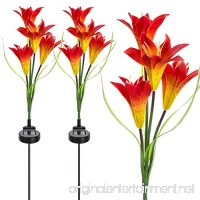 Sorbus Solar Light Flower Lily Stakes  Outdoor LED Garden Flowers for Night Lighting  Solar Path Walkway  Lawn  Garden  Pond  Patio  Gravestones  Special Occasions  etc (Orange) - B07FQQDGLB